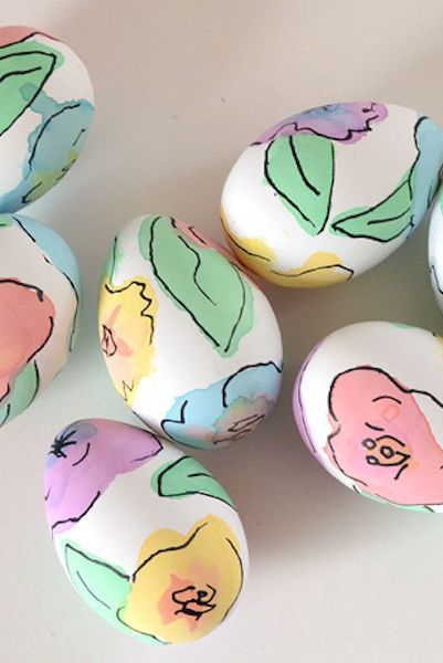 easter, dye eggs, watercolor